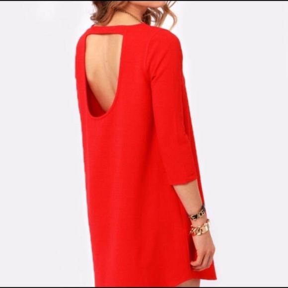 BB Dakota Dresses & Skirts - BB Dakota Red Norland Open Back Shift Dress
